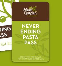 Olive garden 7 week never ending pasta pass only 100 3pm et for Olive garden com join