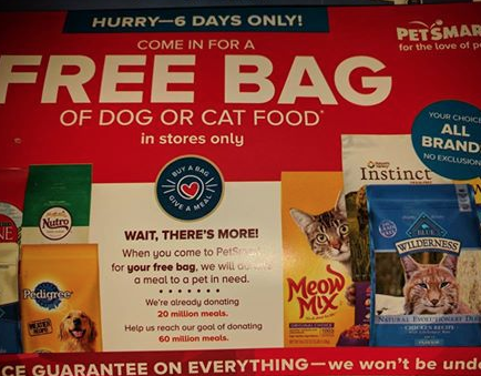 petsmart free bag of dog food