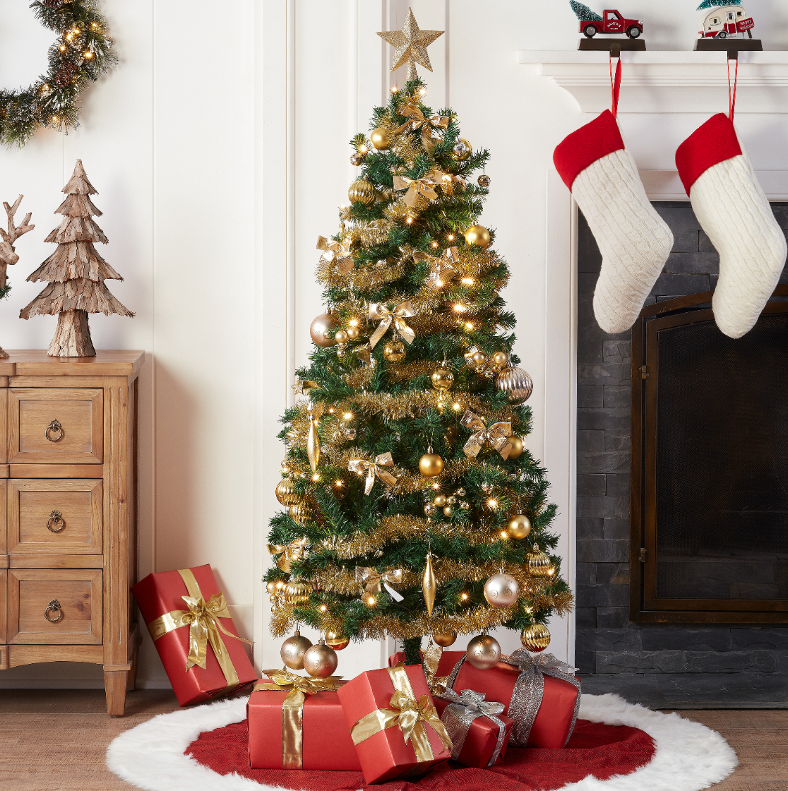 Walmart: Holiday Time 5′ Pre-Lit Christmas Trees with ...
